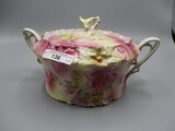 RS Prussia Carnation Mold Cracker Jar with Multi-Color Background and Roses