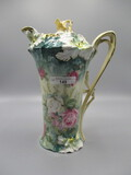 RS Prussia Carnation Mold Chocolate Pot with Multi-Floral on Green Backgrou