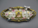 RS Prussia 9x4 Ribbon and Jewel Relish Tray Lustre Finish with Gold Stipple
