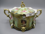 RS Prussia Ribbon and Jewel Biscuit Jar Lustre Finish with Gold Stippled Ke