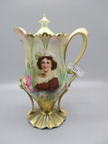 RS Prussia Saw Tooth Mold Chocolate Pot with Lebrun Portrait and Gold Base,