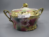 RS Prussia carnation mold cracker jar w/ gold carnations and poppy decor. R