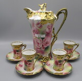 RS Prussia carnation  w/ gold carnations and poppy decor 10pc chocolate set