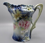 RS Prussia Carnation Mold Cider Pitcher Cobalt Blue with Roses Decor and Ra