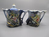RS Prussia Cobalt Open Base Cream and Sugar Set with Strappy Flower decor.