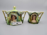 RS Prussia Lily Mold Breakfast Cream and Sugar Set with Lebrun and Potocka