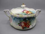 RS Prussia Stippled Floral Mold Cracker Jar with Fruit decor. RM