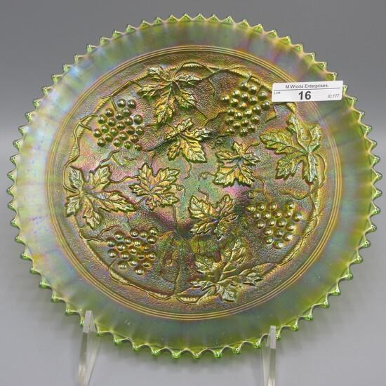 "Nwood 9"" green G&C stippled plate w/ Old Rose Advertising"