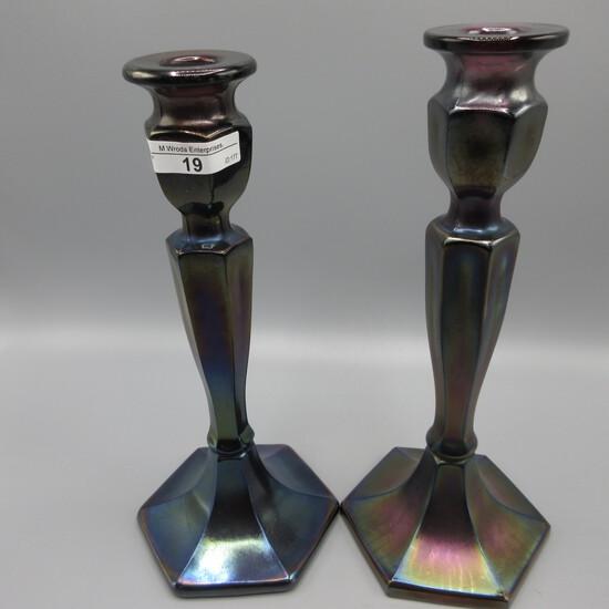 "Fenton Wisteria 10"" Florentine candlesticks"
