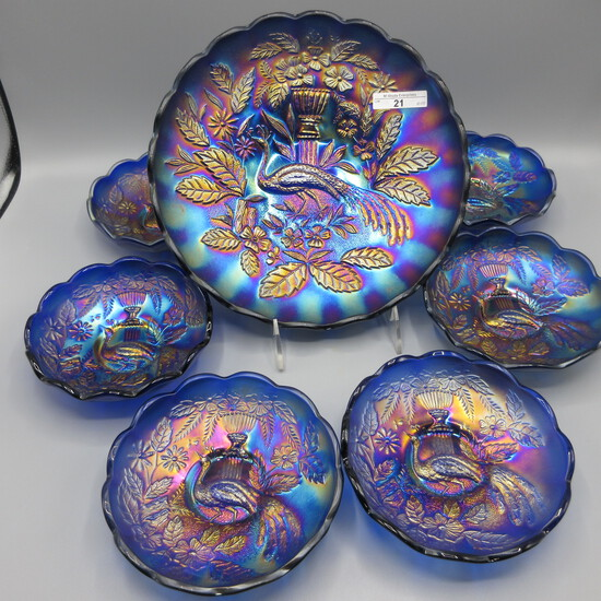 AMAZING Elec Blue Peacock at Urn 7pc ice cream set WELL Matched with awesom