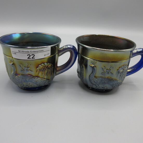 2 Blue Peacock at Fountain punch cups