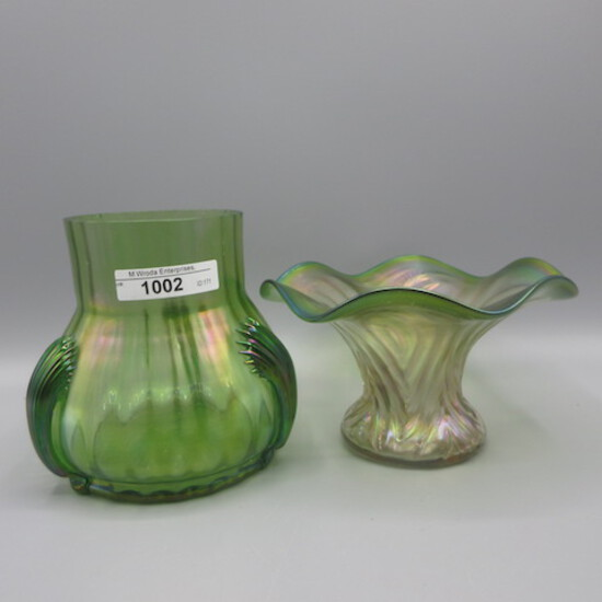 "2 Loetz/ Kralik  Art Glass Vases as shown. Ruffled 4T x 5W/  other is 5""T."