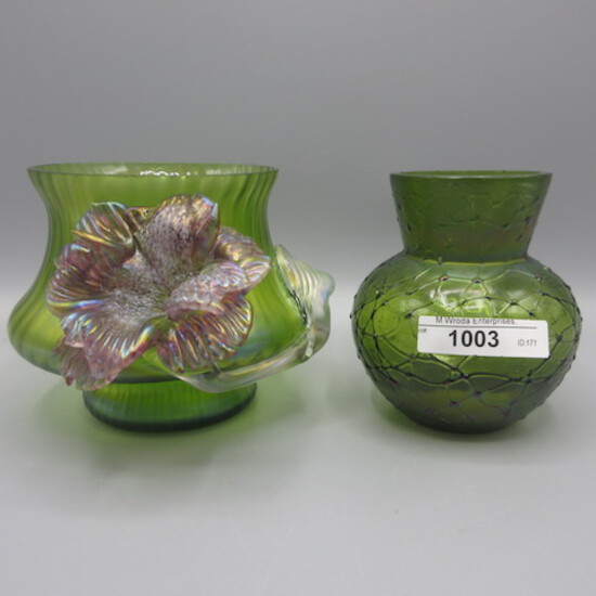 2 Loetz/ Kralik art glass vases. both with cut tops as expected. approx 4""