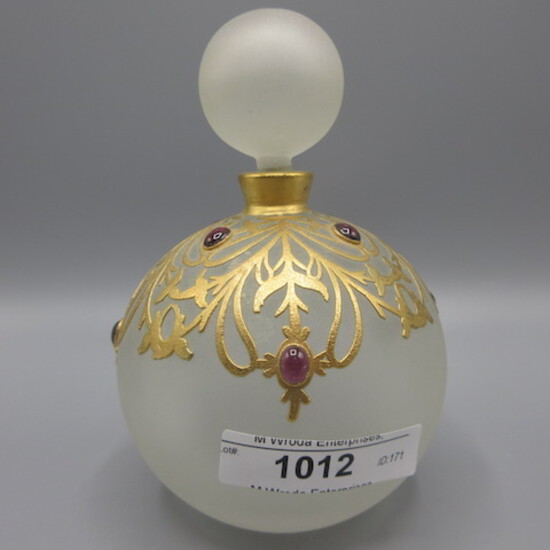 "Art Glass perfume W/gold cameo design  jewels Marked JBD  approx 4.5"" tall-"
