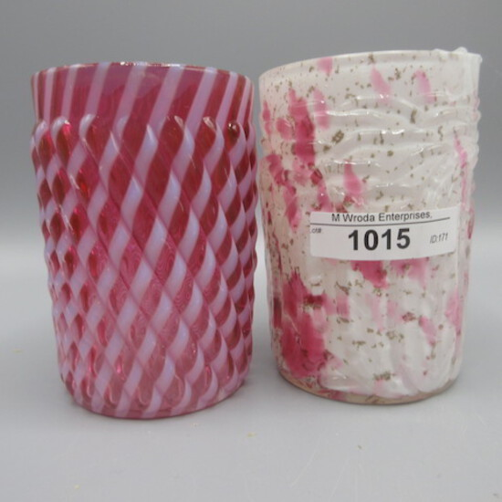 Pair Northwood art glass tumblers as shown