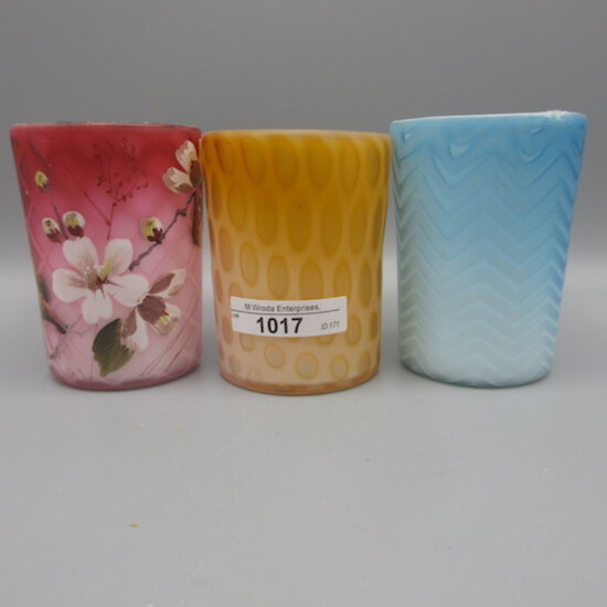 3 MOP satin glass tumblers as shown. All of the tumblers are excellent!