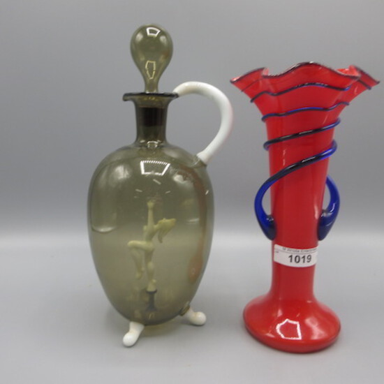 Czech vase and Bimi art glass decanter