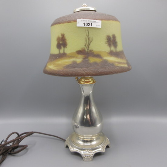 Pairpoint scenic dresser lamp as shown w/ ice chip shade.  Attributed to Pa