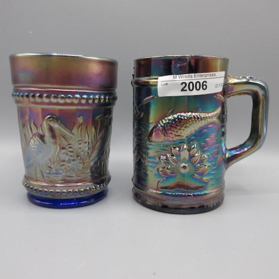 Dugan purple Fishermans mug and blue Stork & Rushes tumbler