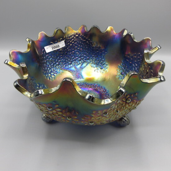 Fenton blue Orange Tree fruit bowl