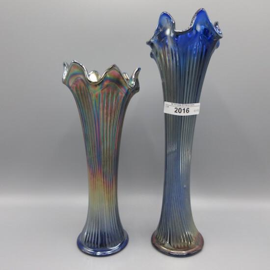 "2 Fenton blue Fine Rib vases 9-7"""