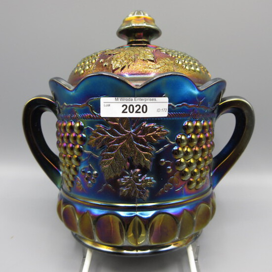 Nwood G&C cracker jar- purple base/ blue lid