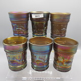 set of 6 Nwood Peacock at Fountain tumblers in odd lt amy color