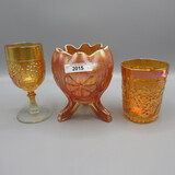 3 pieces marigoild carnival glass as shown wine- tumbler- rosebowl