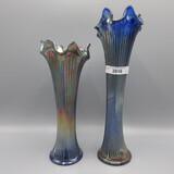 2 Fenton blue Fine Rib vases 9-7