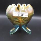 Nwood aqua opal Daisy & Plume ft'd rosebowl. RARE!