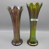 2 Nwood Thin Rib vases- Green / Purple