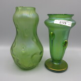 2 Loetz vases as shown, Both have finished rims