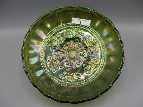 "Millersburg 9"" radium green Mayan ICS bowl"