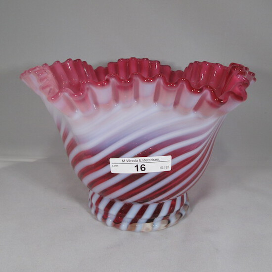 "Fenton cran opal swirl large vase. 6 x 7""W"