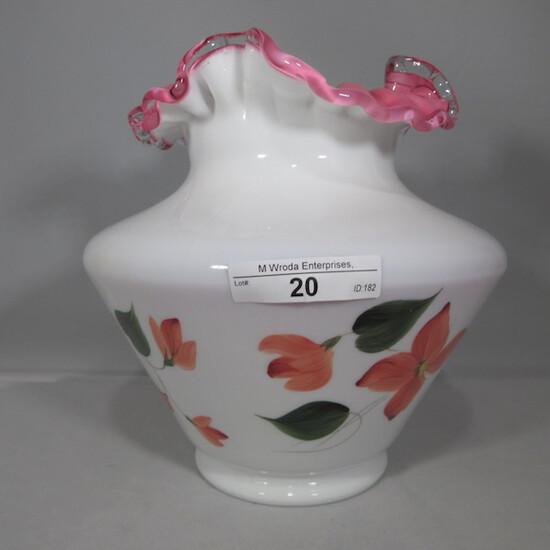 Fenton peach crest painted vase