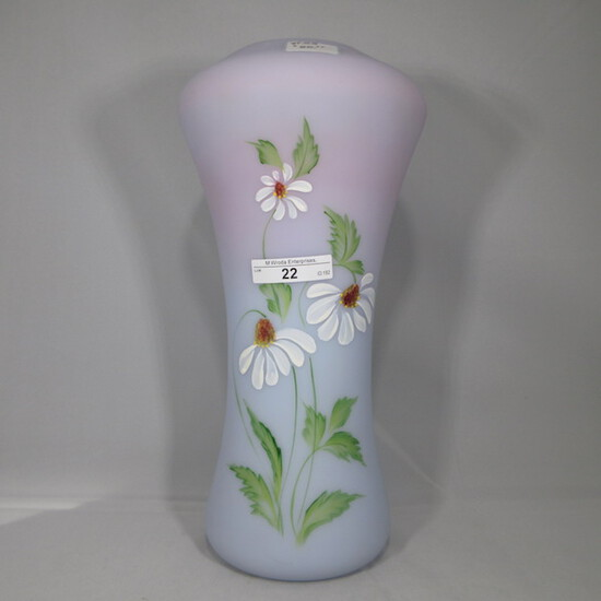 "Fenton blue burmese painted 12"" vase"
