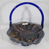 Fenton Acanthus blue handled basket