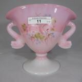Fenton painted rosalene dbl dolphin fan vase