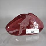 Art Glass sand carved iceberg PW- Signed
