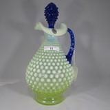 Fenton vaseline opal decanter w/ cobalt stopper