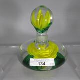 West Virginia art glass PW perfume bottle w/ yellow rose