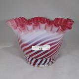 Fenton cran opal swirl large vase. 6 x 7