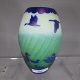 Gibson sandcarved art glass vase