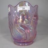 Fenton goldfish irid vase, pink