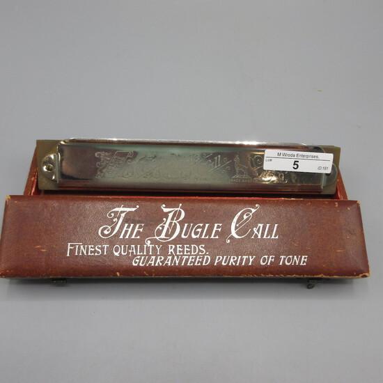 The Bugle Call Harmonica in original box Hinge on box is broken