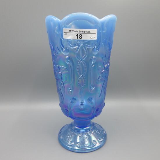 Fenton saph blue opal floral vase