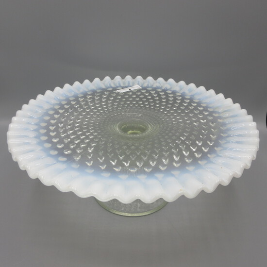 Fenton french opal Hobnail cake stand