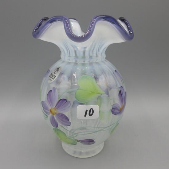"Fenton French opal. Rib Optic plum crest vase 6"" HP"