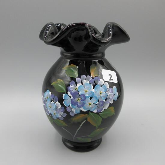 "Fenton black vase-5.5"" HP by Watson"