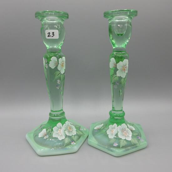 "Fenton green candlesticks-8.5"" handpainted"